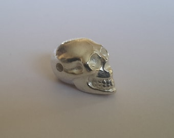 1 Solid Sterling Silver skull bead Bright, Oxidised, Gold Plated 14 mm (1.6 mm hole)