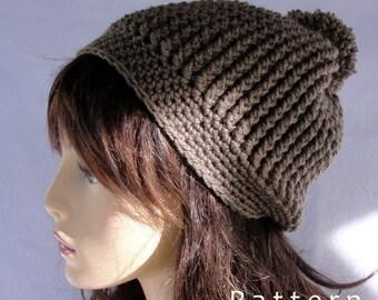 Crochet hat pattern, crochet beanie pattern, Redding Pom Pom Beanie