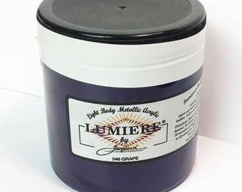 Lumiere Grape 546 - 8 oz Size - Brilliant Light Body Metallic Acrylic Paint - Art Craft Fabric Canvas Wood Paper Pearl Finish