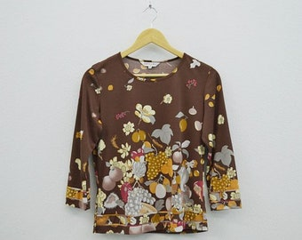 Leonard Shirt Vintage Leonard T Leonard Vintage Casual Top Fruit Prints Made in Japan Size 40 Womens Size S/M