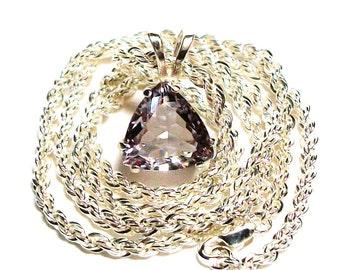 "Amethyst pendant, amethyst, quartz pendant, trillion pendant, rose, soft lilac jewelry, ""Le Bella Rosa"""