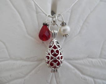 Red Sea Glass Necklace Locket Pendant Jewelry Christmas Charm Silver