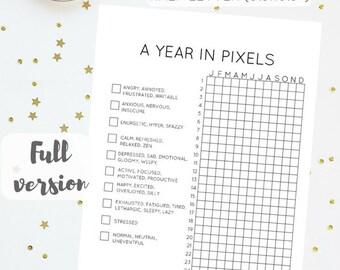 "A Year in Pixels (Half Letter - 5.5x8.5"") - Bullet Journal Inspired, Minimalist Daily Mood Tracker, Instant Digital Download, PDF, JPG"