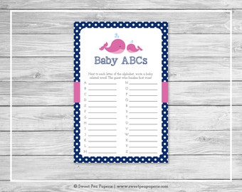Whale Baby Shower Baby ABCs Game - Printable Baby Shower Baby ABCs Game - Pink Whale Baby Shower - Baby ABCs Game - Baby Shower Game - SP128