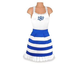 Blue + White Stripe Scuba Skirt and Monogram Tank