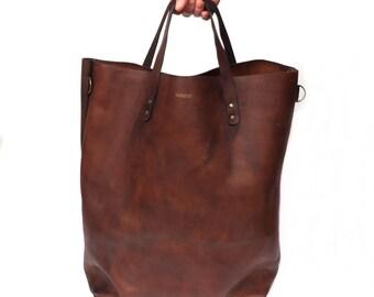 Vintage leather Tote Bag Large - Brown