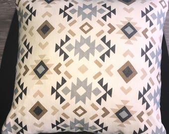 Blue/Gray Aztec Pillow Cover