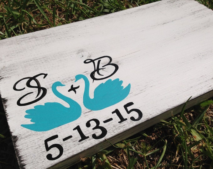 Wedding gift idea, Rustic Guest Book with Swans, Guest Book Alternative with Initials, Guestbook Wood Sign Gift, Decorative Guestbook
