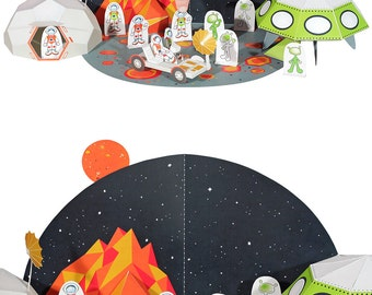 Space Paper Toy - DIY Paper Craft Kit - 3D Model Paper Figure