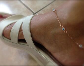rose gold evil eyes anklet - multi evil eye anklet - rose gold ankle bracelet - protection eye anklet - gold evil eye anklet