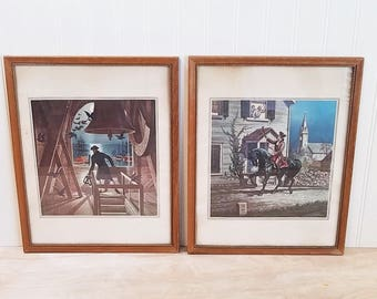Vintage Set of 4 Framed Paul Revere Prints By Joeseph Boggs Beale Paul Revere's Ride Americana Art Historical Prints Revolutionary War
