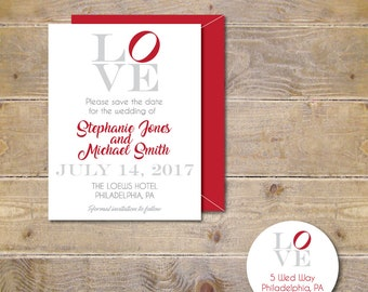 Save The Dates, Philadelphia Love Park,  Wedding, Philadelphia Wedding, Affordable Wedding, Love Designs, Love Save the Dates, Love Park