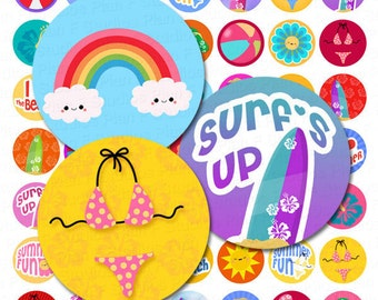 Colorful Summer Fun Digital Collage Sheet - 1 Inch Round Circles - Instant Download