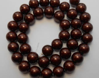 10mm Brown Beads Burgandy Glass Pearls 16 inch Strand 40 Beads