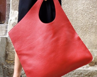 SALE NEW Genuine Leather Red Bag / High Quality  Tote Asymmetrical  Large Bag by AAKASHA A14176