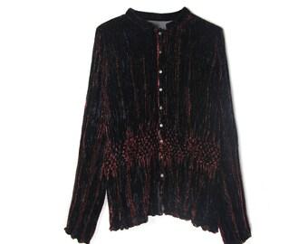 bohemian velvet blouse, bordeaux 90's, vintage textured top, front button closure blouse, mandarin collar