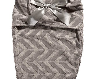 SWUDDLE Newborn Baby Soft Swaddle Blanket, Improved Fabric, Adjustable Velcro Wrap for A Warm Peaceful Sleep. Grey Chevron Velveteen