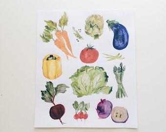 Colorful Vegetables - Watercolor Illustration Print  - 8 x 10