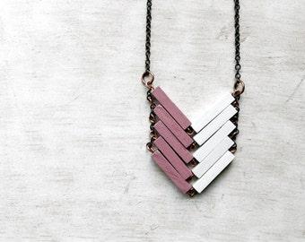 Wood Geometric Necklace // PARIS // Minimal Jewel // White // Pink // Pastel // Hand-Painted Necklace // Modern Necklace // Chevron Necklace