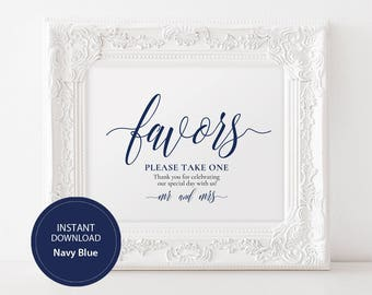 INSTANT DOWNLOAD Wedding Sign Favors Please take one sign 8x10 Navy Calligraphy Favors Compliment Sign Wedding Printable Pdf DIY #DP120_12