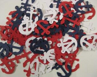 Anchor Confetti, Nautical Confetti, Red, White and Blue Nautical Confetti, Party or Shower Confetti