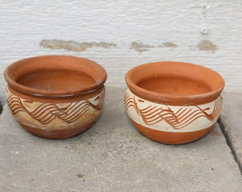 Pair of Vintage Terracotta Pots with Sea Shell Hangers