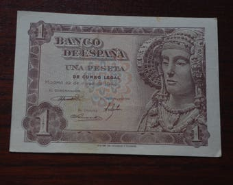 Ticket 1 Peseta from 1948. Uncirculated. Iron. Vintage ticket. Old banknotes. DAMA de Elche. Collecting. Notaphily.