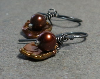 Bronze Keshi Pearl Earrings Brown Petal Pearls Oxidized Sterling Silver Gift for Her Gift for Girlfriend