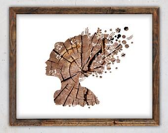 Woman Portrait Print, Rustic Wall Decor, Wood Wall Art, Printable Instant Digital Download, Woman Downloadable Print, Modern Woman Poster