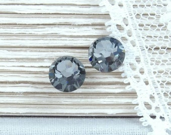 Gray Studs Rhinestone Studs Gray Stud Earrings Gray Crystal Studs Surgical Steel Studs Gray Jewelry