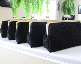 SALE 20% OFF Bridal Silk And Lace Clutch Set Of 5 Black,Bridal Accessories,Wedding Clutch,Bridesmaid Clutches