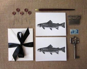 Trout Fish Note Cards Set of 10 with Matching Envelopes