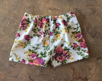 White Mulit Color Floral Print Baby Girls Summer Shorts
