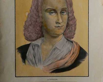 Antonio Vivaldi - Cm. 50 x 35 Inches 19,7 x 13,8 - Printed on high quality paper and water-coloured by hand. Since 1940s