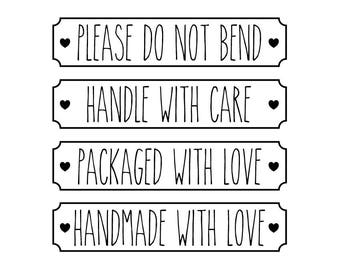 Packaging Stamp, Postal Stamp, Parcel Text Stamp, Please Do Not Bend, Handle With Care, Packaged With Love, Handmade With Love, (txt20)
