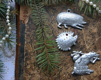 3 Vintage Christmas ornaments, New Year/Christmas ornaments, Silver color Soviet hedgehog, fox ornament, retro Christmas decoration
