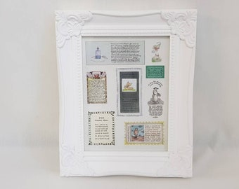 Herbs Frame, Gardener gift, kitchen decor, cafe decor, home decor, Framed Book pages. Freestanding or wall mounted. Page 1980s