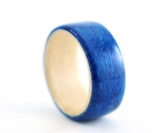 Wooden Ring Handmade From Mountain Maple, Maple Bentwood Ring, Blue Wooden Ring, Blue Ring, Aqua Blue Ring, Natural Ring, Aquamarine  Ring