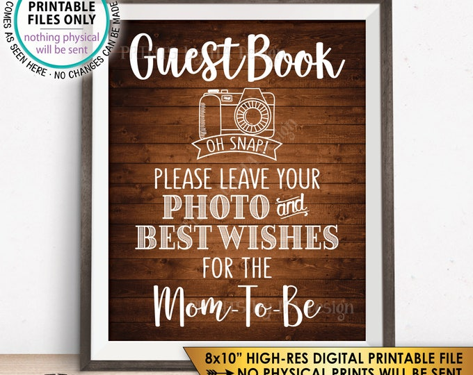 """Guestbook Sign, Leave Photo and Best Wishes for the Mom-To-Be, Baby Shower Sign, Selfie, Rustic Wood Style PRINTABLE 8x10"""" Instant Download"""