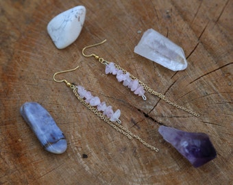 Rose quartz gold chain earrings FREE SHIPPING