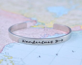 Wanderlust - Hand Stamped Aluminum Cuff Bracelet, Travel, Wander, Adventure, Bohemian And Gypsy Jewelry