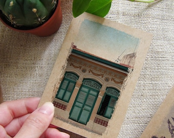 Small Gift Notebook Singapore no 25. - Traveler Journal - Singapore Shophouse Inspirations in your Pocket Windows