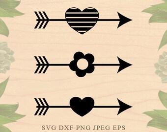 Arrow SVG Arrows svg Heart svg Valentine Svg Valentine SVG file Cut Files Dxf Eps files Cricut files for Silhouette files Cricut Downloads
