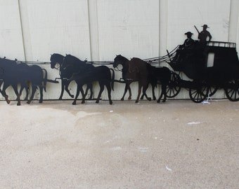 Metal Wall Art Stagecoach 36in