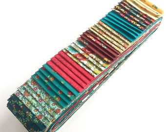 Quilting 40pc Strip Set in Makower's Bloom in Pink & Turquoise - Jelly Roll, Quilting Pre-Cut