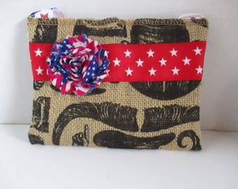 Small bag, purse with handle, red, white, blue, brown burlap, black print, accessory, bags, purses, informal, teenager, young adult