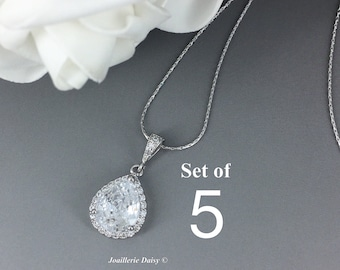 Set of 5 Cubic Zirconia Necklace Bridesmaid Jewelry Bridal Necklace CZ Necklace Mother of the Groom Mother of the Bride Wedding Gifts