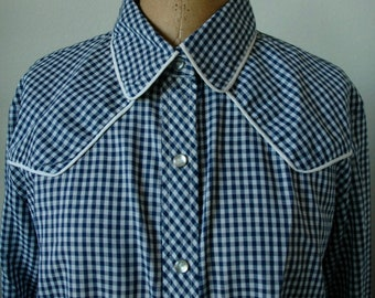 "Vintage Miss Fashionability Brand Western Shirt - ""Checkered Past"" - SALE"