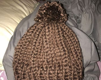 Chocolate Brown Knitted Pom Pom Hat