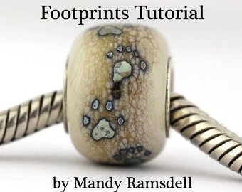 Lampwork Beadmaking TUTORIAL, Footprints and Paw Prints tutorial, glass beadmaking tutorial, lampwork tutorial, footprint tutorial